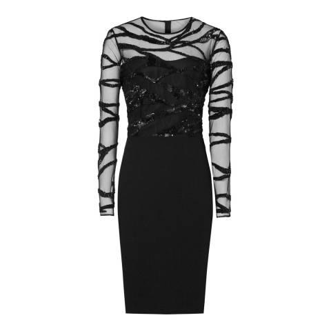 Reiss Black Embellished Rosalin Dress