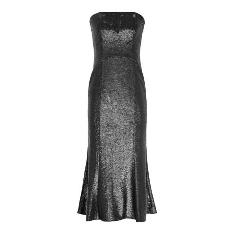 Reiss Gunmetal Ricami Sequin Midi Dress