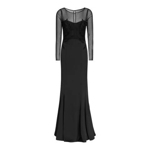 Reiss Black Embellished Lys Maxi Dress
