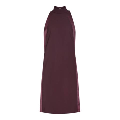 Reiss Burgundy Kaelin High-Neck Shift Dress