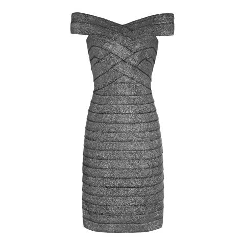 Reiss Silver Paneled Bodycon Hartley Dress