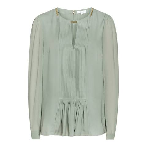 Reiss Green Inda Pleated Chain Neck Blouse