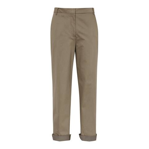 Reiss Khaki Atla Cotton Wide Leg Trousers