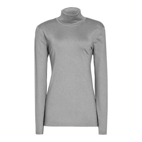 Reiss Grey Sassy Sparkle Roll Neck Top