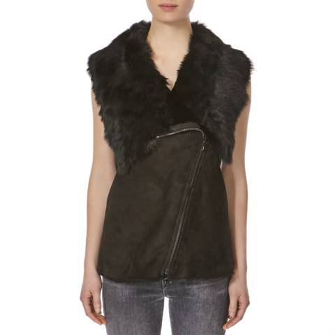 Shearling Boutique Black Zip Toscana Gilet