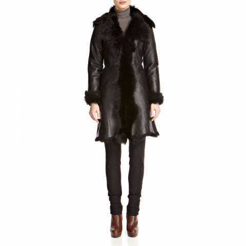 Shearling Boutique Black Nappa Waterfall Shearling Coat