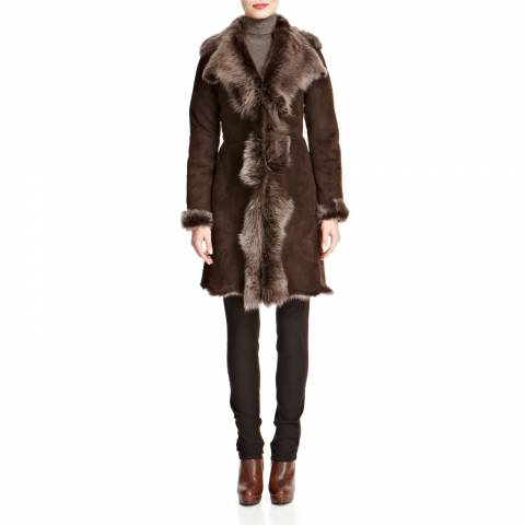 Shearling Boutique Brown/Silver Waterfall Shearling Coat