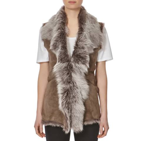 Shearling Boutique Taupe Silver Shearling Gilet