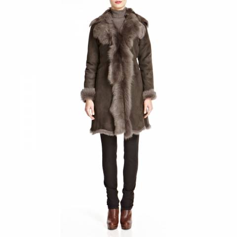 Shearling Boutique Brown Waterfall Shearling Coat