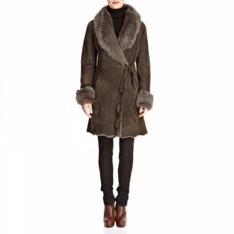 Shearling Boutique Grey Alice Wrap Shearling Coat