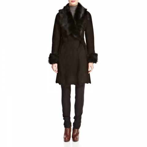 Shearling Boutique Black Alice Wrap Shearling Coat
