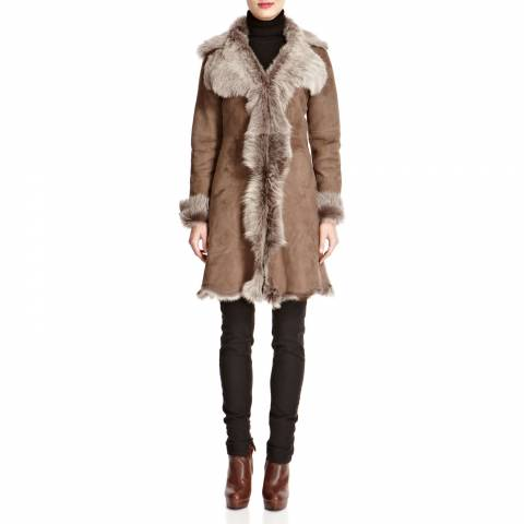 Shearling Boutique Taupe Waterfall Shearling Coat