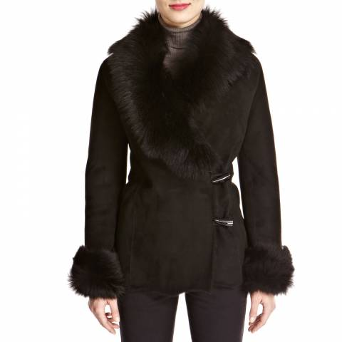 Shearling Boutique Black Merino Shearling Jacket