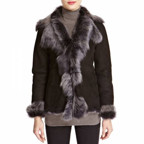 Shearling Boutique Black/Silver Waterfall Shearling Jacket