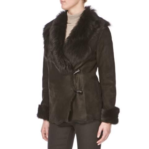 Shearling Boutique Brown Merino Toscana Short Shearling Jacket