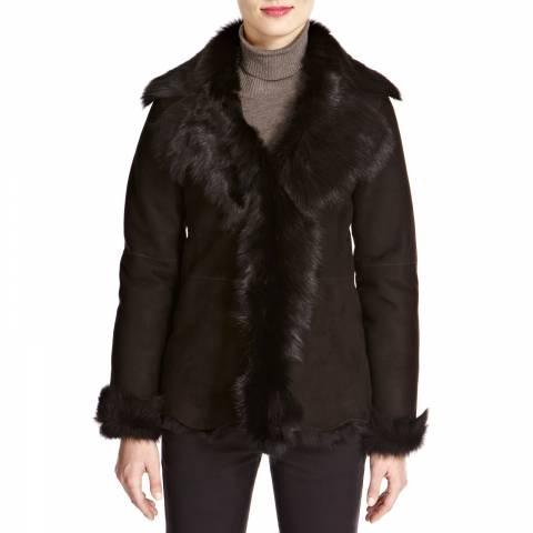 Shearling Boutique Black Waterfall Shearling Jacket