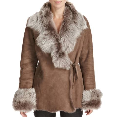 Shearling Boutique Taupe Short Merino Tie Jacket
