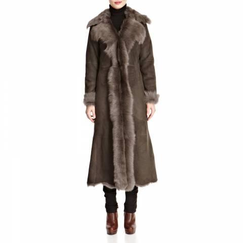 Shearling Boutique Grey Waterfall Full Length Shearling Coat