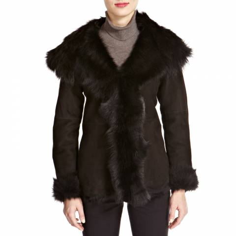 Shearling Boutique Black Waterfall Hooded Shearling Jacket