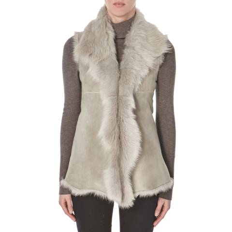 Shearling Boutique Light Grey Sleeveless Sheepskin Gilet