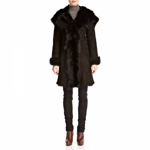 Shearling Boutique Black Waterfall Hooded Shearling Coat