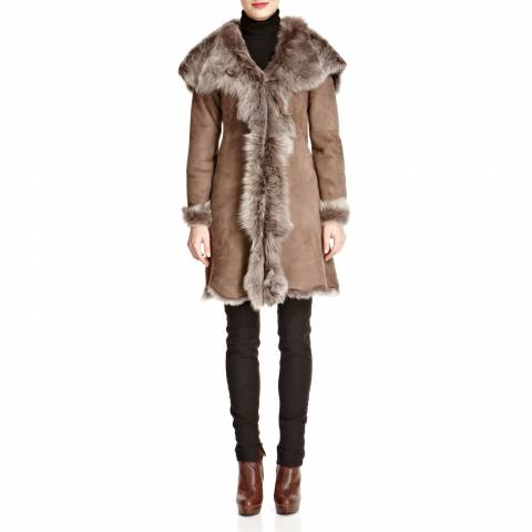 Shearling Boutique Taupe Waterfall Hooded Shearling Coat