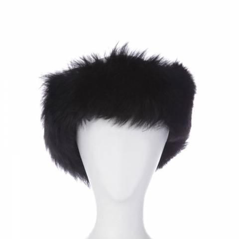 Shearling Boutique Black Toscana Sheepskin Headband