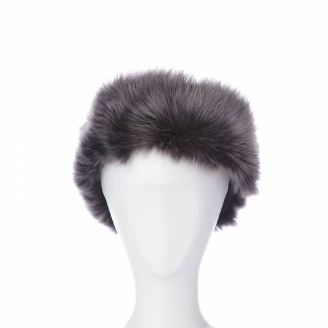 Shearling Boutique Black/Silver Shearling Headband One Size