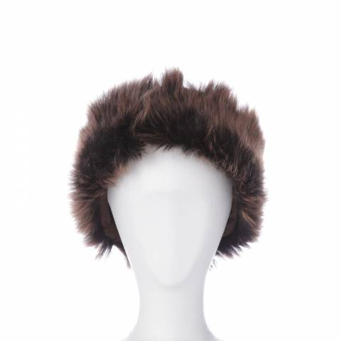 Shearling Boutique Brown/Gold Shearling Headband One Size