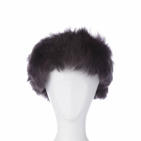 Shearling Boutique Slate Shearling Headband One Size