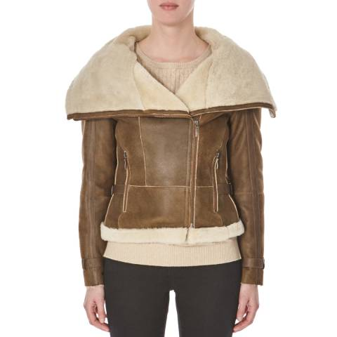 Shearling Boutique Whisky Tan Shearling Biker Jacket