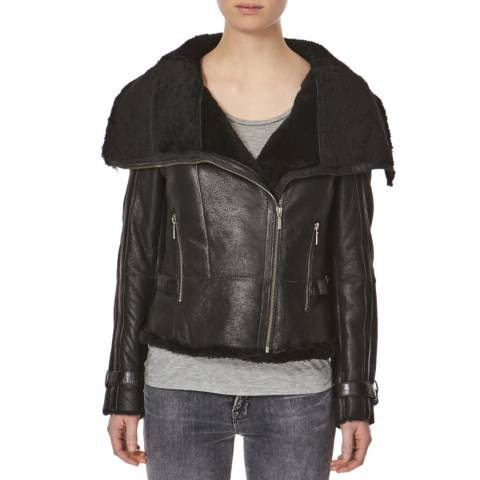 Shearling Boutique Black Shearling Biker Jacket