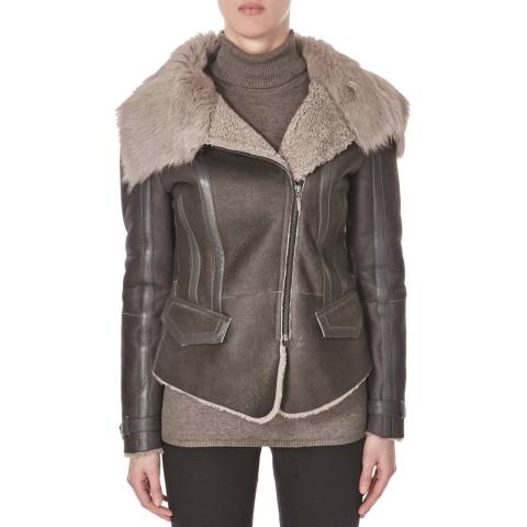 Shearling Boutique Grey Sheepskin Biker with Toscana Collar Jacket