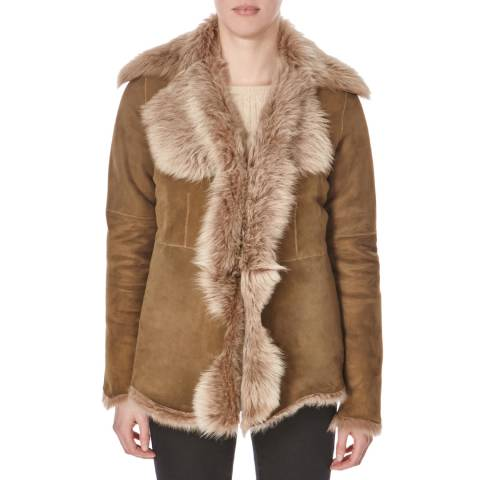 Shearling Boutique Beige Waterfall Toscana Sheepskin Jacket
