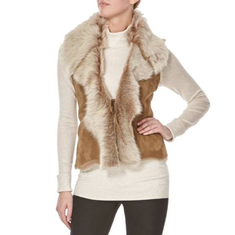 Shearling Boutique Tan/Cream Short Shearling Gilet
