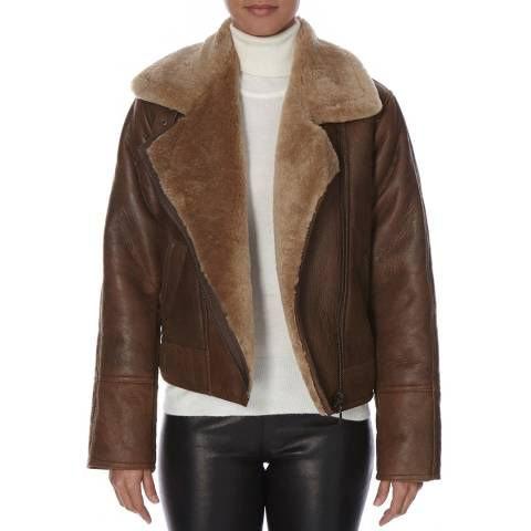 Shearling Boutique Brown Oversized Cross Zip Sheepskin Biker Jacket