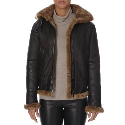 Shearling Boutique Brown Hooded Flying Sheepskin Jacket