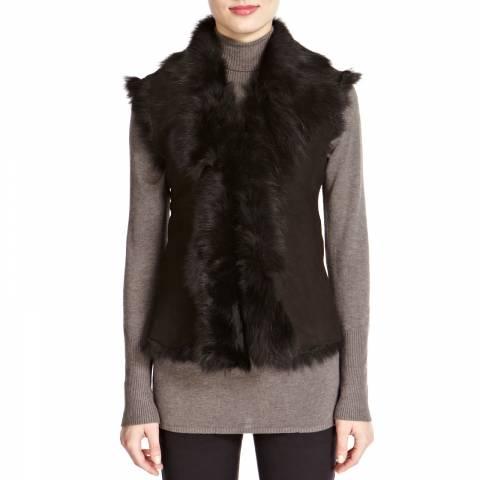 Shearling Boutique Black Short Gilet