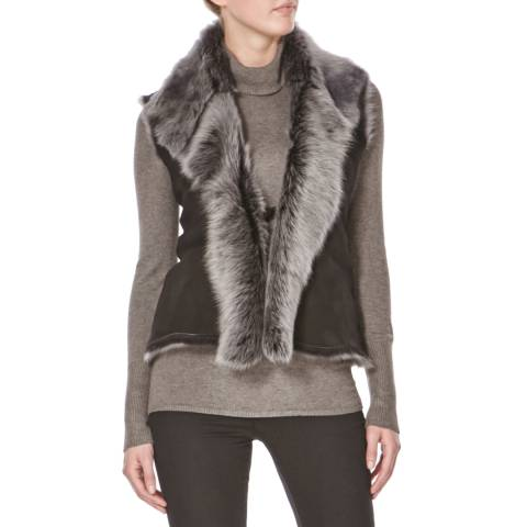 Shearling Boutique Black/Silver Sheepskin Gilet