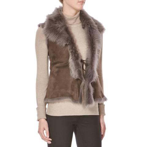 Shearling Boutique Grey Short Gilet