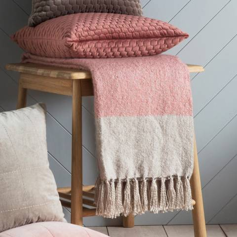 Gallery Blush And Silver Tonal Faux Mohair Throw 130 x 180cm