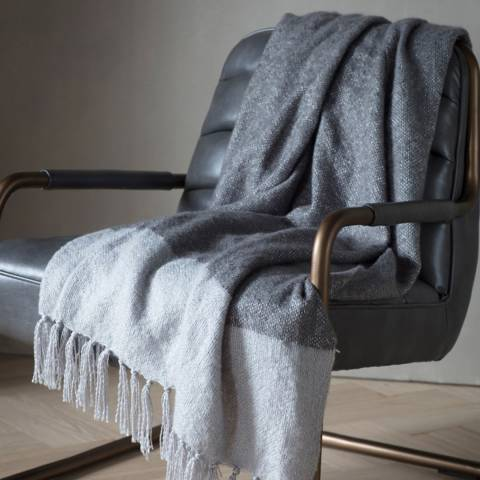Gallery Slate/Silver Tonal Faux Mohair Throw 130x180cm