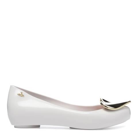 Vivienne Westwood for Melissa White Ultragirl 19  Heart Ballet Flats