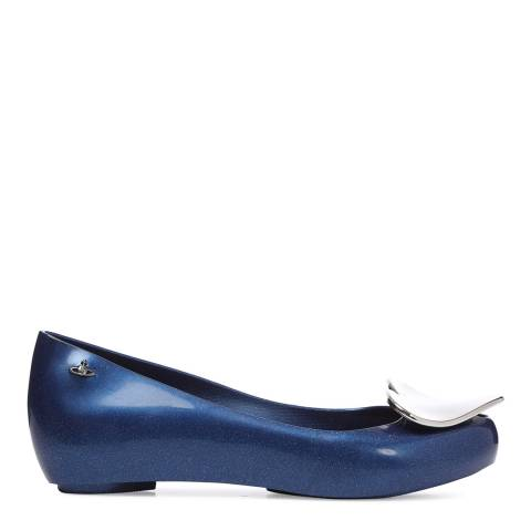 Vivienne Westwood for Melissa Midnight Navy Ultragirl 19 Glitter Heart Ballet Flats