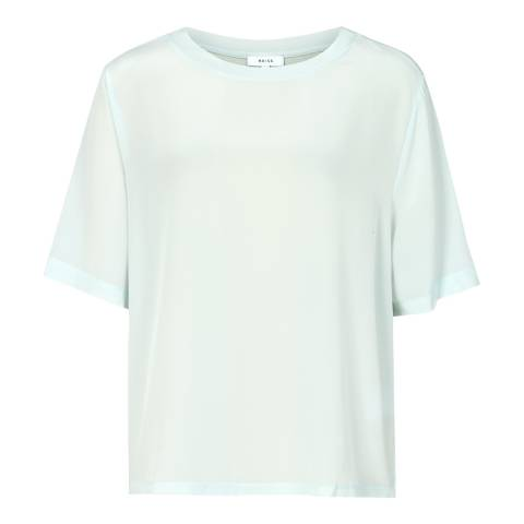 Reiss Soft Mint Green Oversized Silk Top