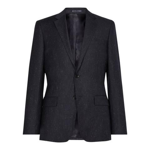 Reiss Navy Kreider Pinstripe Suit Jacket