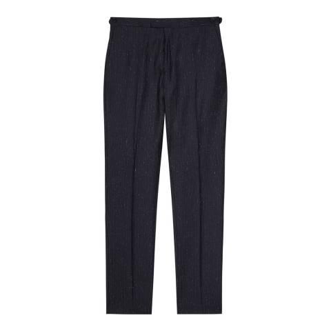 Reiss Navy Kreider Wool and Silk Blend Suit Trousers