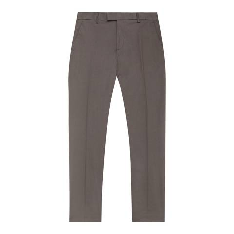 Reiss Taupe Statten Slim Stretch Cotton Suit Trousers