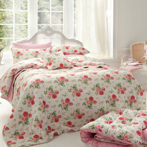 Cath Kidston White Antique Rose Bouquet Superking Quilt Cover