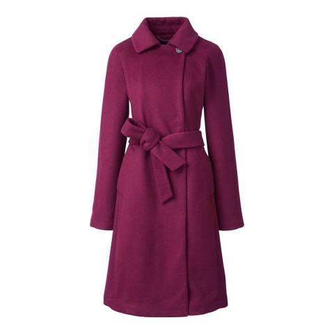 Lands End Burgundy Wool Blend Wrap Coat
